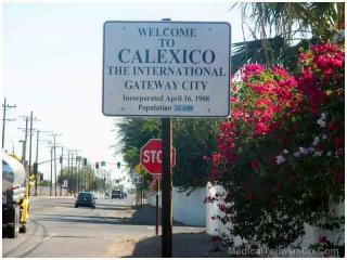 Welcome Board to Calexico Close to the US-Mexico Border