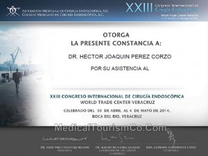 Dr. Hector Perez Certificate - Assistance at International Endoscopic-Surgery Congress