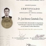 General Surgery Certificate - Dr. Jose Castaneda Cruz