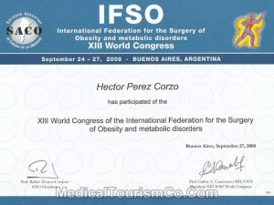 IFSO World Congress Certificate – Dr. Perez