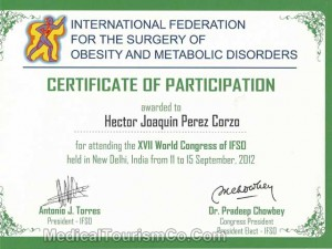 IFSO World Congress Participation Certificate