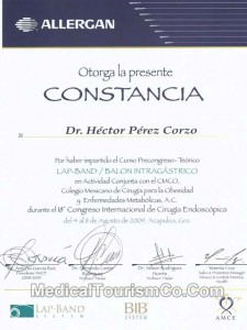Lap Band Certification – Dr. Hector Perez