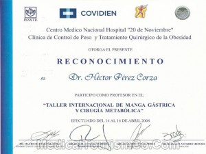 Obesity Surgery Certificate – Dr. Perez