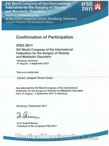 XVI IFSO World Congress Participation Certificate