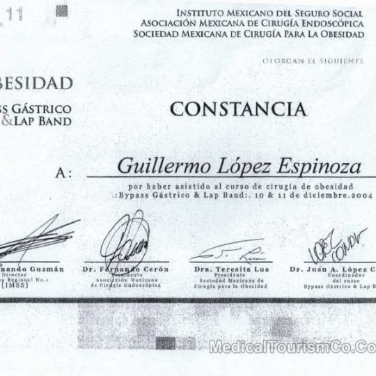 Gastric Bypass Certificate Dr. Guillermo Lopez Tijuana