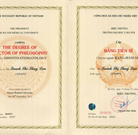 credentials of Dr. Thi Thuy Lan, Vietnam