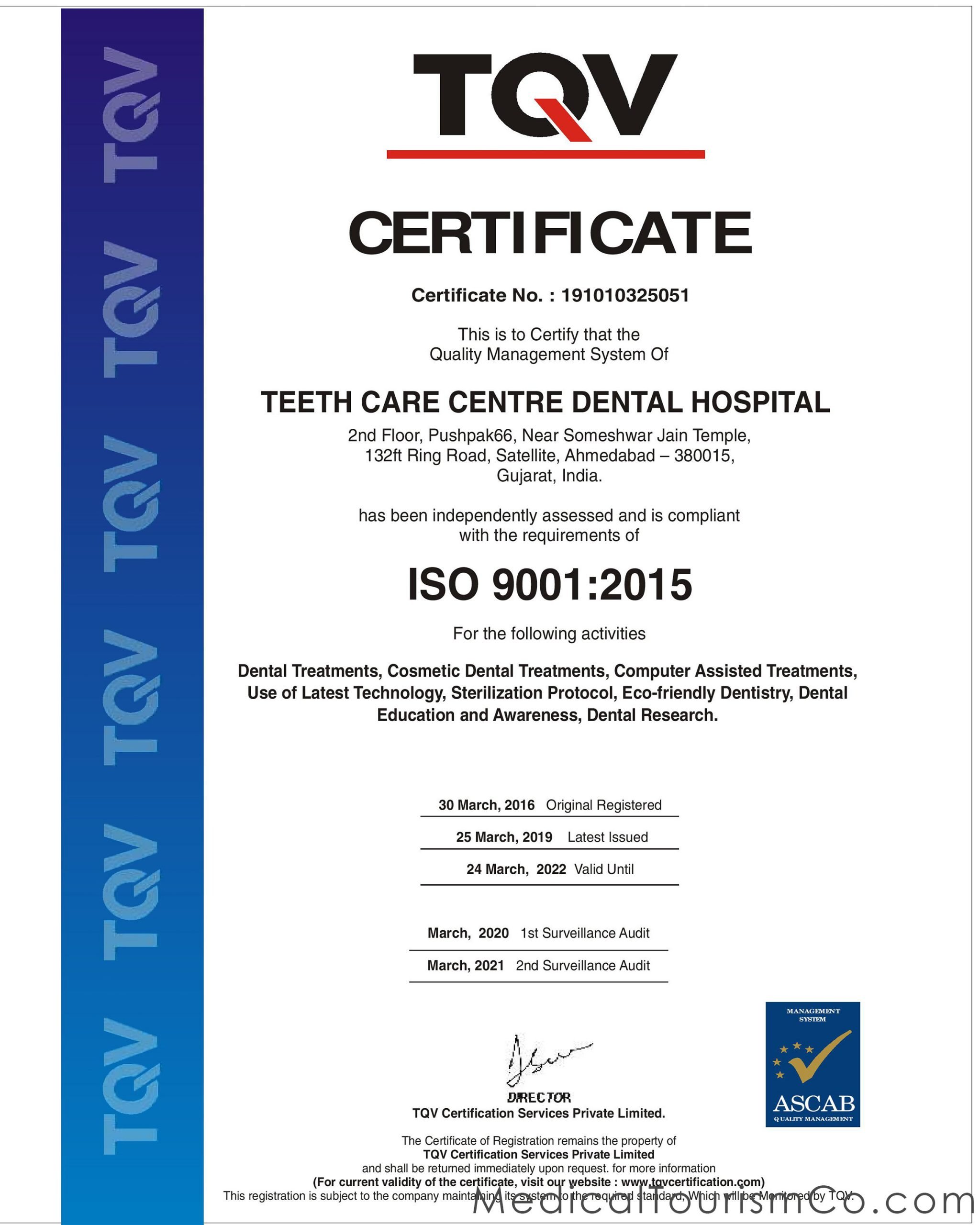 Teeth Care Center ISO Certification-Dental Implants in Ahmedabad