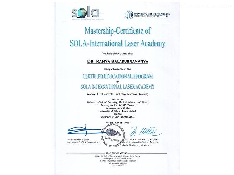 Certificates dr Ramya Bangalore